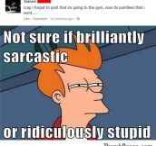 Not sure if sarcastic or stupid