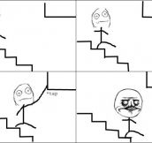 While going down the stairs – ME GUSTAAA