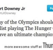 Robert Downey on last day of Olympics