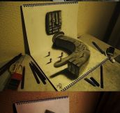 3D drawings on sketchbook