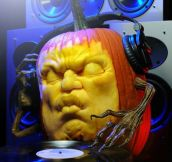 DJ Pump (A Record-Spinning 3D Carved Pumpkin Sculpture)