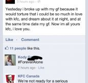 Guy got rejected by KFC.