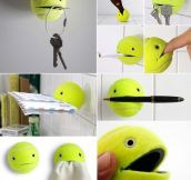 Recycling an old tennis ball.