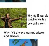 Generations' different views towards bow and arrows.