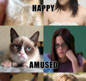 Grumpy Cat does Kristen Stewart impressions.
