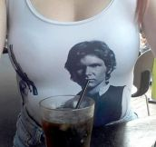 Han Solo getting a drink.