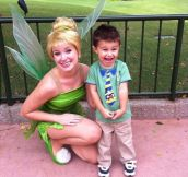 He is so happy to meet Tinker Bell!