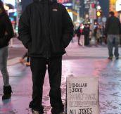 ONE DOLLAR, ONE JOKE.