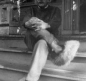 Rare picture of Einstein in fuzzy slippers.