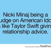 Nicki Minaj being a judge on American Idol is like..