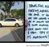 Someone left awesome note for parking badly