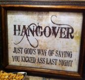 Definition of hangover