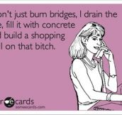 I don't just burn bridges