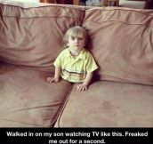 Son watching TV