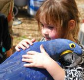 A young girl hugging a bird…