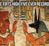 The first high five in history…