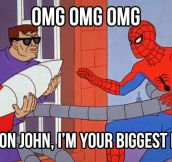 Spidey finds his idol…