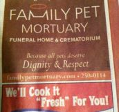 Because all pets deserve dignity and respect…