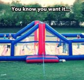Bouncy volleyball court…
