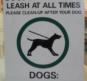 Sign for humans and dogs…