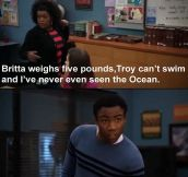 Troy can't swim…