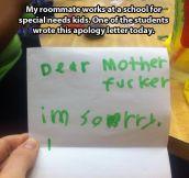 Apology letter…