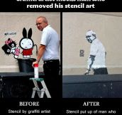 Graffiti artist mocks grumpy man…