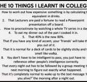 Things I learned in college…