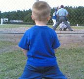 My son watching his grandpa…