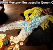 Freddie Mercury illustrated in Queen CDs…