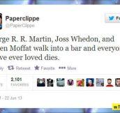Three writers walk into a bar…