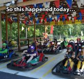 Go kart race just got serious…