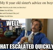 A little girl's advice on boys…