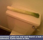 A leak in the bathroom…