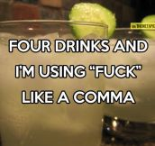 It only takes four drinks…