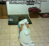 Playing hide and seek with a little girl…