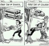 First day of high school vs. first day of college…