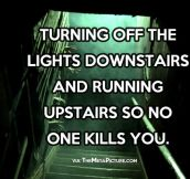 Running upstairs from the basement…