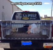 Clever tailgate wrap…