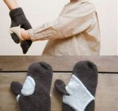 Hand-holding mittens…