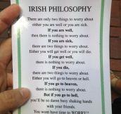 Irish philosophy…