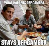 Bear Grylls behind the scenes…