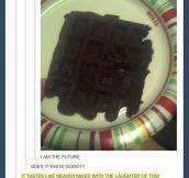 Brownie mix in a waffle iron…