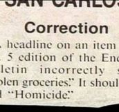 Important correction…