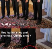 Shoe fail while meeting Obama…