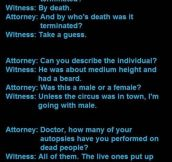 Dumb things people say in courtrooms…