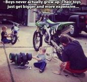 Boys don't grow up…