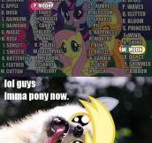 So now he's a pony…