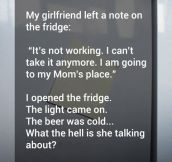 The note in the fridge…