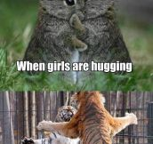 When girls hug vs. when guys hug…